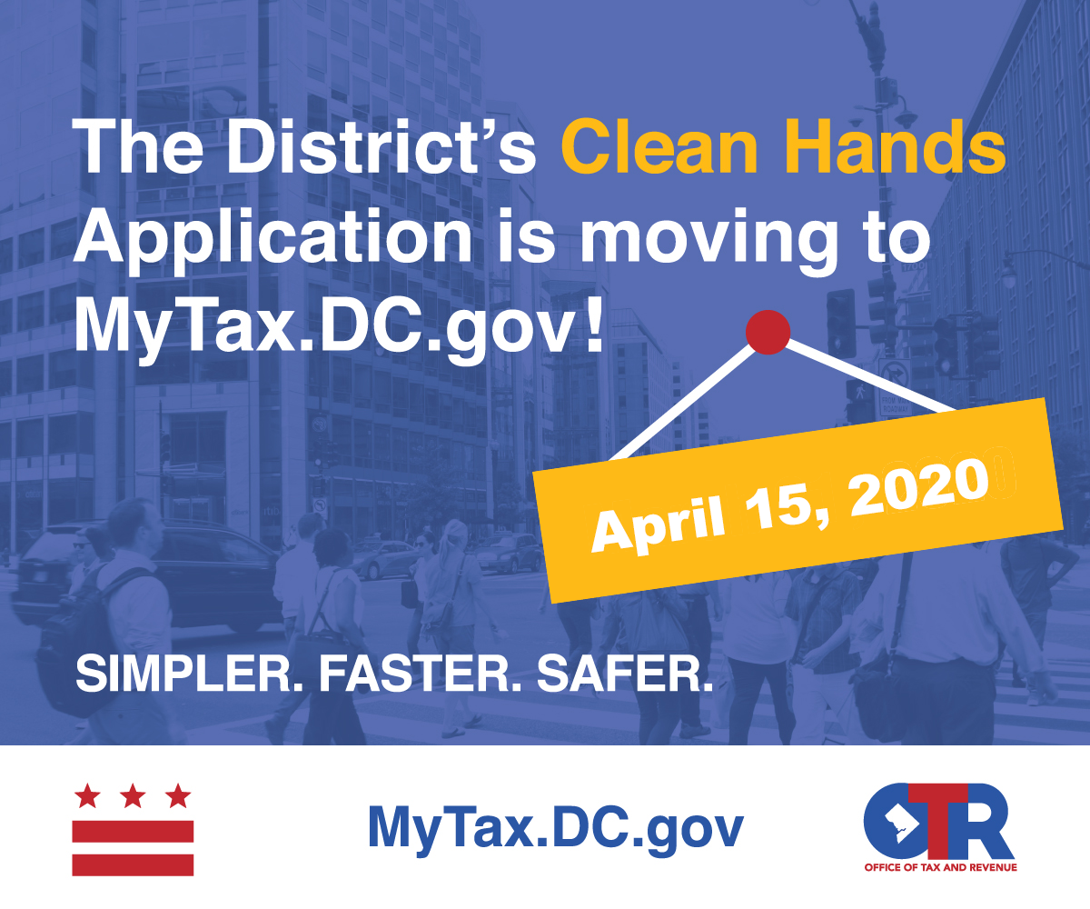 Image for Clean Hands is moving to MyTax.DC.gov.
