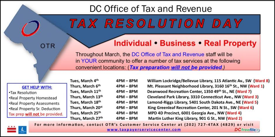 Tax Resolution Day locations