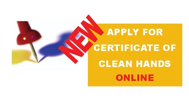 Apply for Certificate of Clean Hands Online