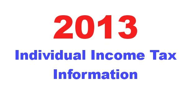 2013 Individual Income Tax Information image