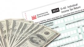 "DC Tax form and currency bills with text that reads ""Check Your Tax Refund Status"""